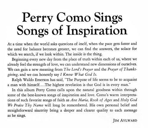 Perry Como Sings Songs of Inspiration